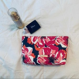 Trina Turk Floral Cosmetic Bag Navy blue Pink